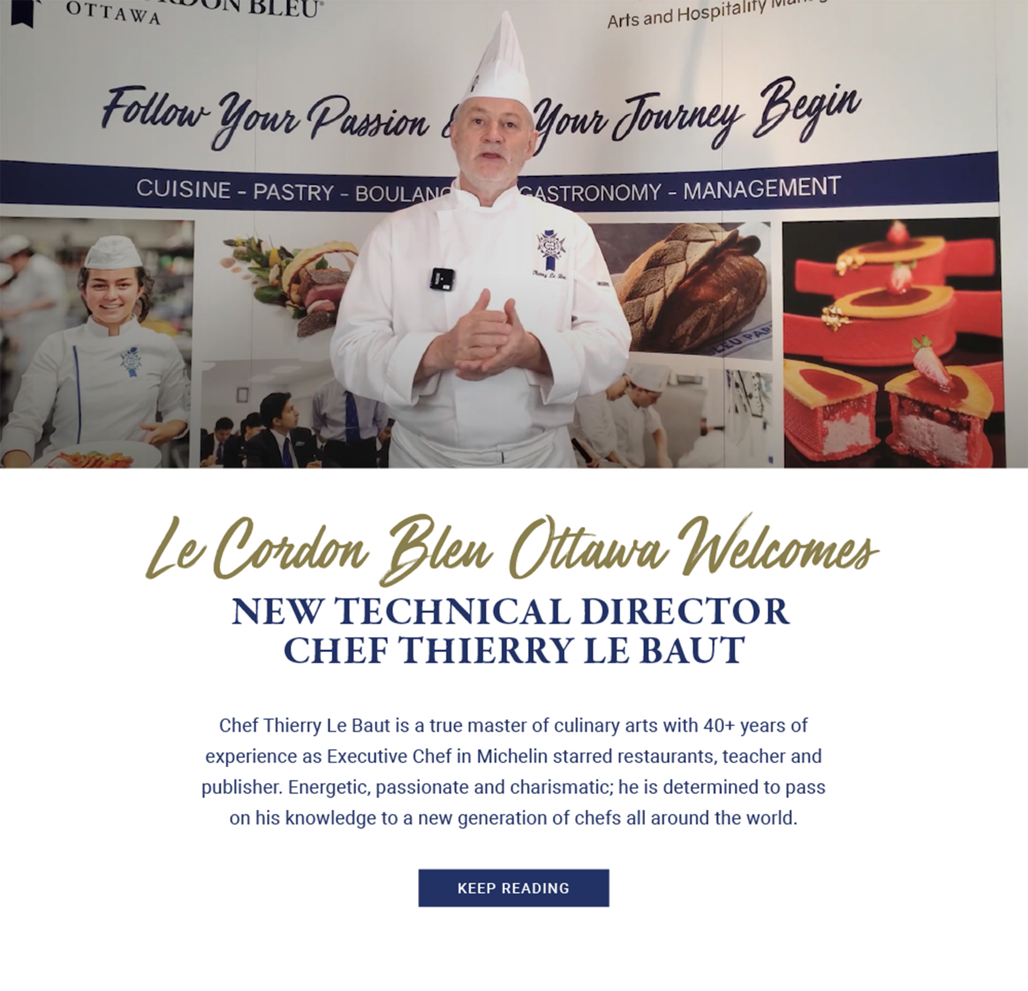 NEW TECHNICAL DIRECTOR CHEF THIERRY LE BAUT